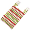 22in. x 12in. x 7in. Holiday Stripes High Density T-Shirt Bags, White