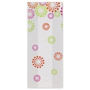 "Polypropylene 9.5""H x 4""W x 2.5""D Blooming Dots Cello Bags, White, 100/Pack"