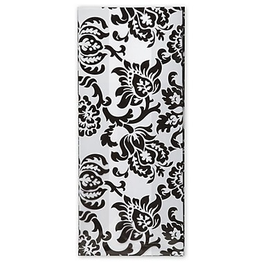 4in. x 2 1/2in. x 9 1/2in. Black Damask Cello Bags, White