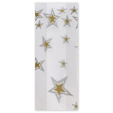 5in. x 3in. x 11 1/2in. Super Stars Silver & Gold Cello Bags, Gold on White