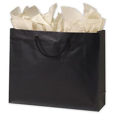 Sacs de magasinage européens mats plastifiés, 13 x 16 x 4 3/4 po, noir, 100/paquet