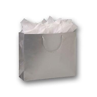 Sacs de magasinage européens mats plastifiés, 13 x 16 x 4 3/4 po, argenté, 100/paquet