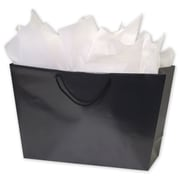 "12"" x 20""(top) - 16""(bottom) x 6"" Matte Laminated Trapezoid Euro-Shoppers, Black"