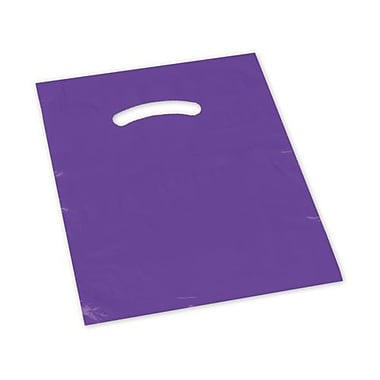12in. x 15in. Die-Cut Handle Bags, Purple