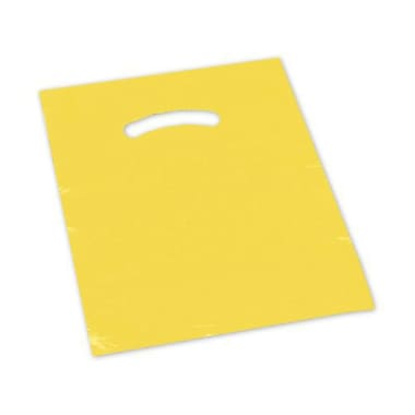Plastic 15in.H x 12in.W Die-Cut Handle Shopping Bags, Yellow, 1000/Pack