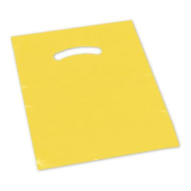 18in. x 18in. + 4in. BG Die-Cut Handle Bags, Yellow