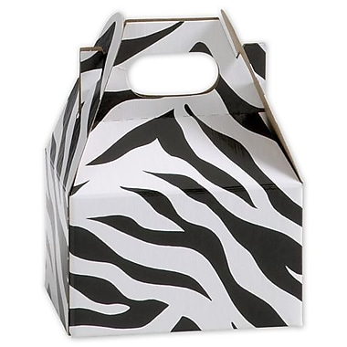 2 1/2in. x 2 1/2in. x 4in. Zebra Mini Gable Boxes, White/Black