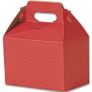 "Kraft Paper 5.25""H x 4.88""W x 8""L Varnish Striped Gable Boxes, Red, 100/Pack"