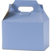 5 1/4 x 4 7/8 x 8 Varnish Stripes Gable Boxes, French Blue