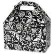 5 1/2in. x 5in. x 8 1/2in. Damask Gable Boxes, White on Black