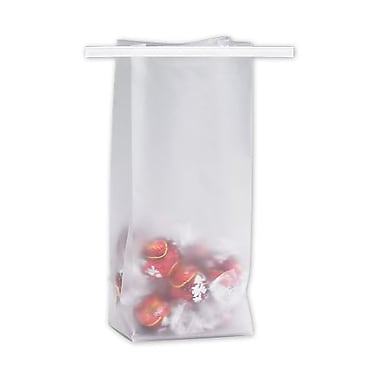 3 1/2in. x 2 1/2in. x 7 3/4in. Frosted Tin-Tie Bags, Clear
