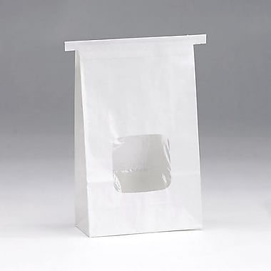6in. x 2 3/4in. x 9 1/2in. Tin-Tie Bag With Windows, White