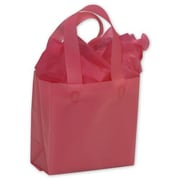 """Polyethylene 6.5""""H x 6.5""""W x 3.5""""D Frosted Shopping Bags, Cerise, 250/Pack"""