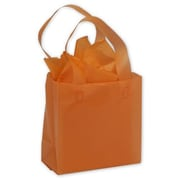 """Polyethylene 6.5""""H x 6.5""""W x 3.5""""D Frosted Shopping Bags, Orange, 250/Pack"""