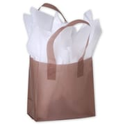 """Polyethylene 6.5""""H x 6.5""""W x 3.5""""D Frosted Shopping Bags, Chocolate, 250/Pack"""