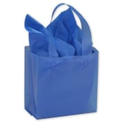 """Polyethylene 6.5""""H x 6.5""""W x 3.5""""D Frosted Shopping Bags, Blue, 250/Pack"""