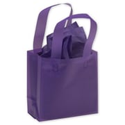 """Polyethylene 6.5""""H x 6.5""""W x 3.5""""D Frosted Shopping Bags, Grape, 250/Pack"""