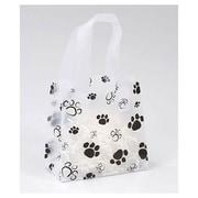 "Polyethylene 6.5""H x 6.5""W x 3.5""D Paws Shopper Bags, Clear/Black, 100/Pack"