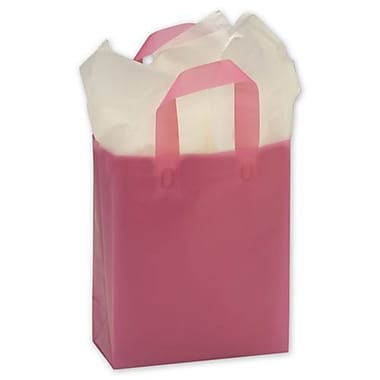 8in. x 4in. x 10in. Frosted High Density Shoppers, Cerise