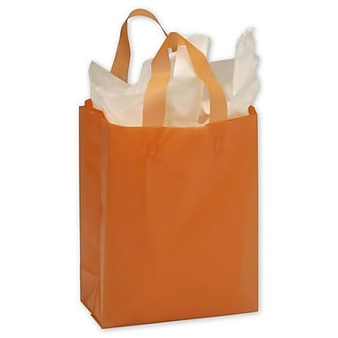 8in. x 4in. x 10in. Frosted High Density Shoppers, Orange