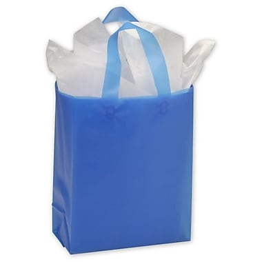 8in. x 4in. x 10in. Frosted High Density Shoppers, Blue