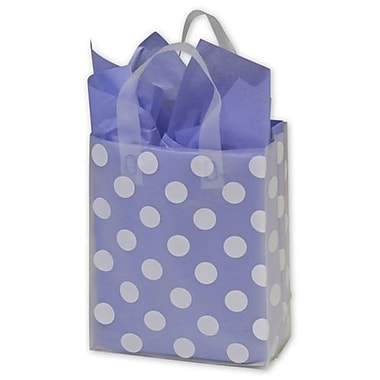 8in. x 4in. x 10in. Dots Frosted Flex Loop Shoppers, White on Clear