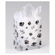 "Polyethylene 10""H x 8""W x 4""D Paws Frosted Shopper Bags, Black/White, 100/Pack"