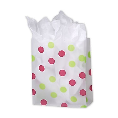 8in. x 4in. x 10in. Dots Frosted Flex Loop Shoppers, Pink and Green Clear