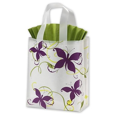 8in. x 4in. x 10in. Vines and Butterflies Frosted Shoppers, White