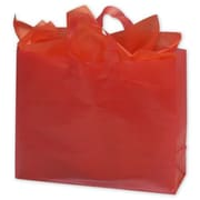 "Polyethylene 12""H x 16""W x 6""D High Density Shopper Bags, Red, 250/Pack"