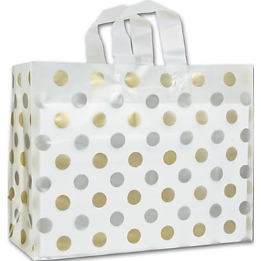 16in. x 6in. x 12in. Dots Frosted Flex Loop Shoppers, Gold and Silver on Clear