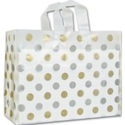 """16"""" x 6"""" x 12"""" Dots Frosted Flex Loop Shoppers, Gold and Silver on Clear"""