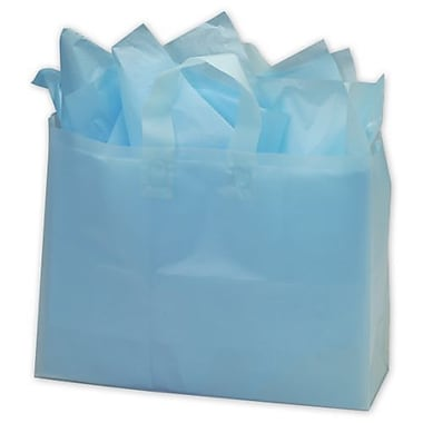 16in. x 6in. x 12in. Frosted High Density Shoppers, Turquoise