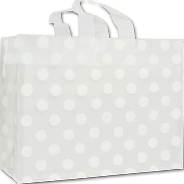 16in. x 6in. x 12in. Dots Frosted Flex Loop Shoppers, White on Clear