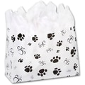 16in. x 6in. x 12in. Paws Frosted Shoppers, Black on White