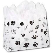 """Polyethylene 12""""H x 16""""W x 6""""D Paws Shopper Bags, White, 100/Pack"""