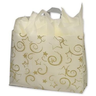16in. x 6in. x 12in. Stars Frosted Flex Loop Shoppers, Clear