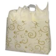 "Polyethylene 12""H x 16""W x 6""D Stars Shopper Bags, Stars Clear, 100/Pack"