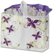 16in. x 6in. x 12in. Vines and Butterflies Frosted Shoppers, White