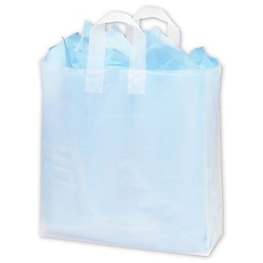 16in. x 6in. x 16in. Frosted High Density Flex Loop Shoppers, Clear