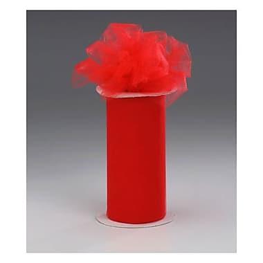 Ruban lustré en tulle, 6 po x 25 verges, rouge, 4/paquet