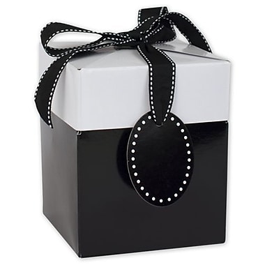 4 3/4in. x 4in. x 4in. Giftalicious Pop-Up Boxes, Black Tie