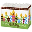 5in. x 4in. x 6 3/4in. Birthday Party Gift Basket Boxes, Green/White/Brown/Blue
