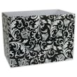 7 1/2in. x 6in. x 10 1/4in. Damask Gift Basket Boxes, Black and White