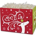 5in. x 4in. x 6 3/4in. Dashing Reindeer Gift Basket Boxes, White/Red/Green