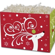 7 1/2 x 6 x 10 1/4 Dashing Reindeer Gift Basket Boxes, White/Red/Green