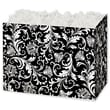 5in. x 4in. x 6 3/4in. Damask Gift Basket Boxes, Black