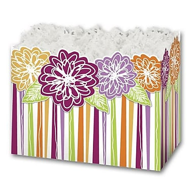 5in. x 4in. x 6 3/4in. Floral Medley Gift Basket Boxes, Pink/Green/Orange/Yellow