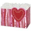 5in. x 4in. x 6 3/4in. Swirly Hearts Gift Basket Boxes, White/Pink/Red