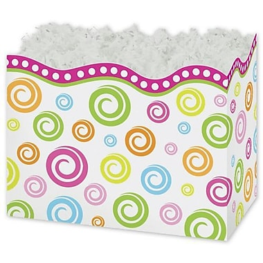 5in. x 4in. x 6 3/4in. Swircles Gift Basket Boxes, White/Pink/Orange/Blue/Green